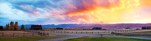 Incredible Sky Over Idaho Ranch stock photo