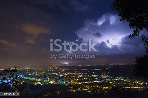 istock Incredible thunderstorm lightshow 682650612