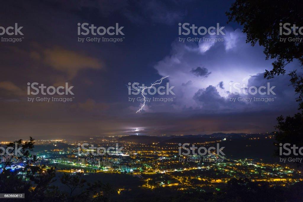 Incredible thunderstorm lightshow stock photo