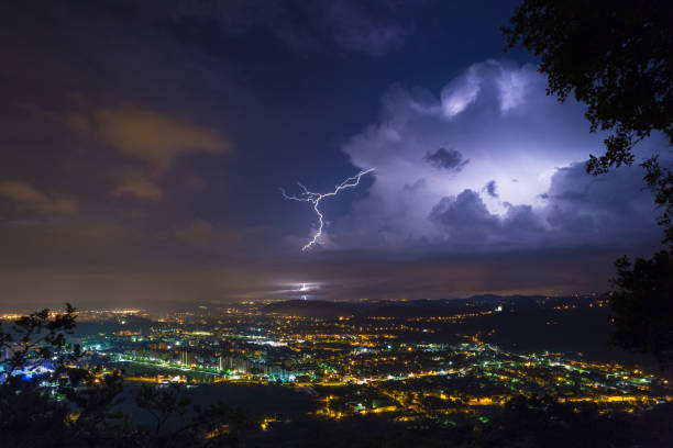 Incredible thunderstorm lightshow stock photo