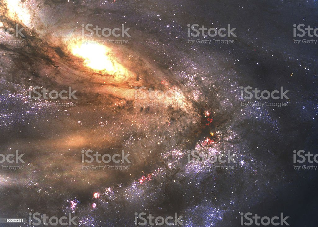 Incredibly beautiful spiral galaxy somewhere in deep space stock photo