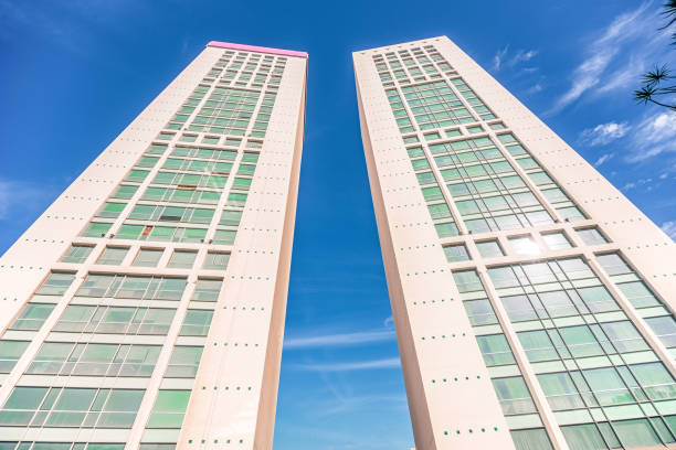 incredibly large two twin towers in the business center of Casablanca stock photo