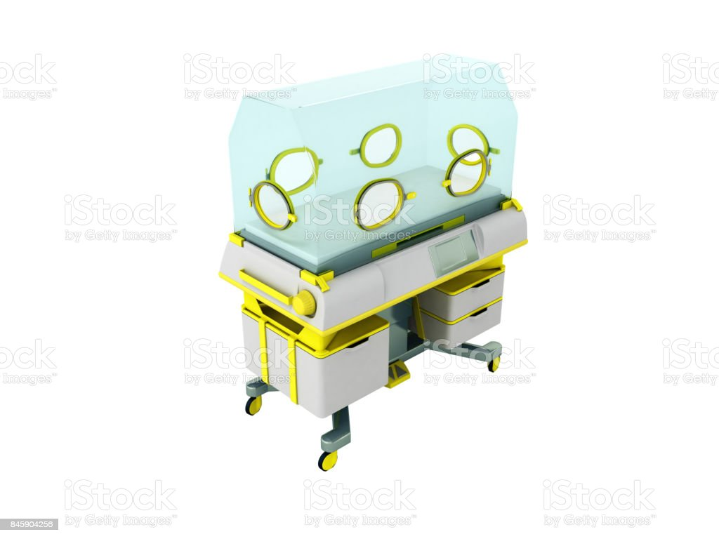 Incubator for premature babies yellow 3d render on white background stock photo