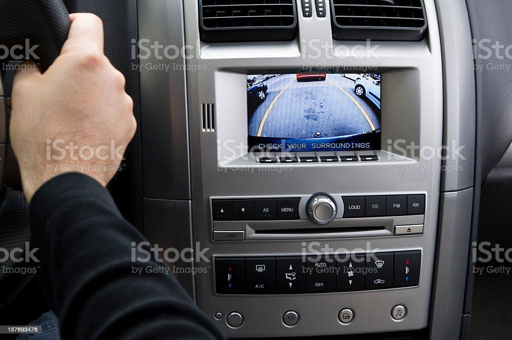 In-dash reversing camera while parking (LHD) stock photo