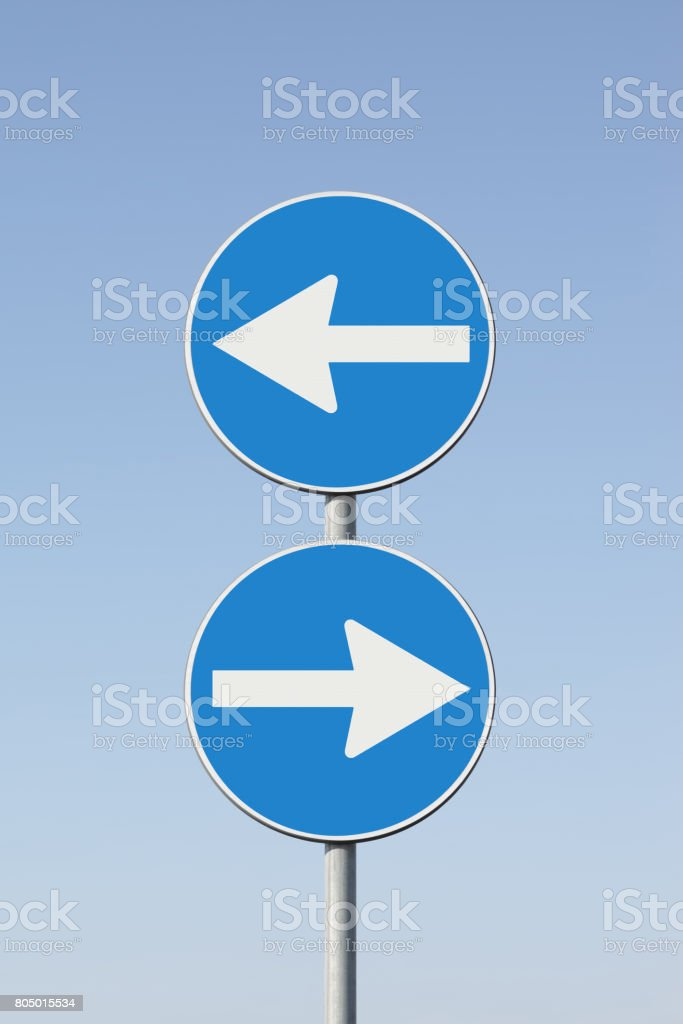 Indecision - concept image whit road signs stock photo