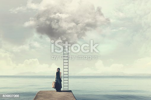istock Indecisive woman does not know if climb up a ladder from the sky to a disenchanted destination 826807066