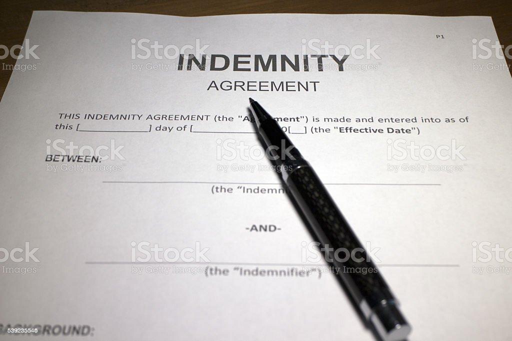 Indemnización acuerdo. foto de stock libre de derechos