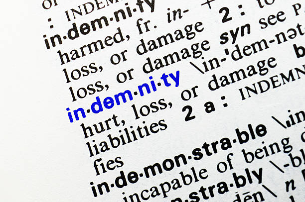 Indemnity. Closeup of dictionary word entry. stock photo