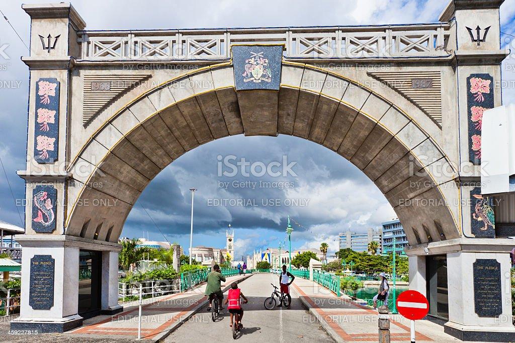 Independence Arch & Chamberlain Bridge, Bridgetown, Barbados stock photo