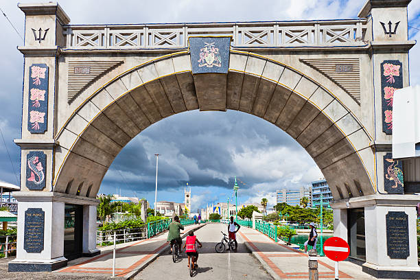 Independence Arch & Chamberlain Bridge, Bridgetown, Barbados stock photo