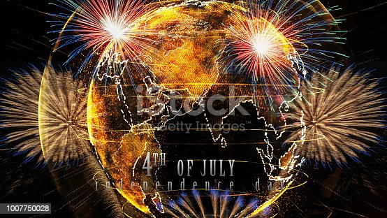 istock Independence day 4th july text over the Multicolor Firework Celebration over the Part of Abstract planet earth particle background 1007750028