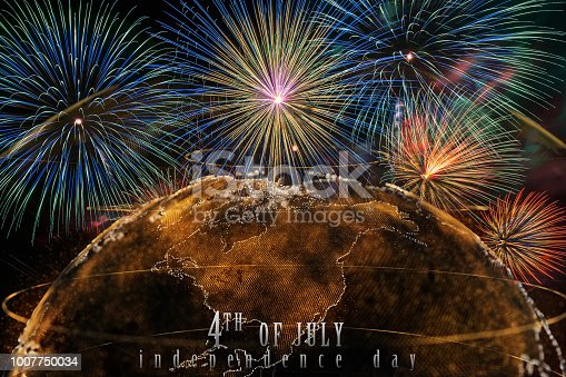 istock Independence day 4th july text over the Multicolor Firework Celebration over the Part of Abstract planet earth particle background 1007750034