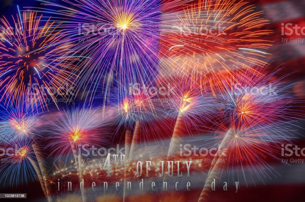 Independence day 4th july text over the Multicolor Firework Celebration over the Part of Abstract planet earth particle background stock photo