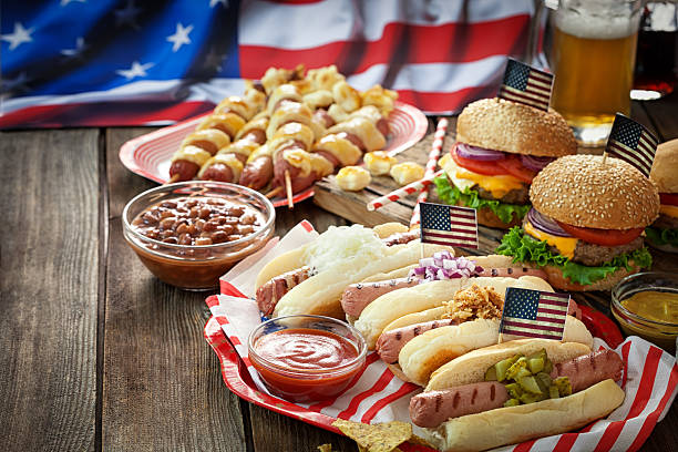 Independence Day 4th of July - Picnic Table stock photo