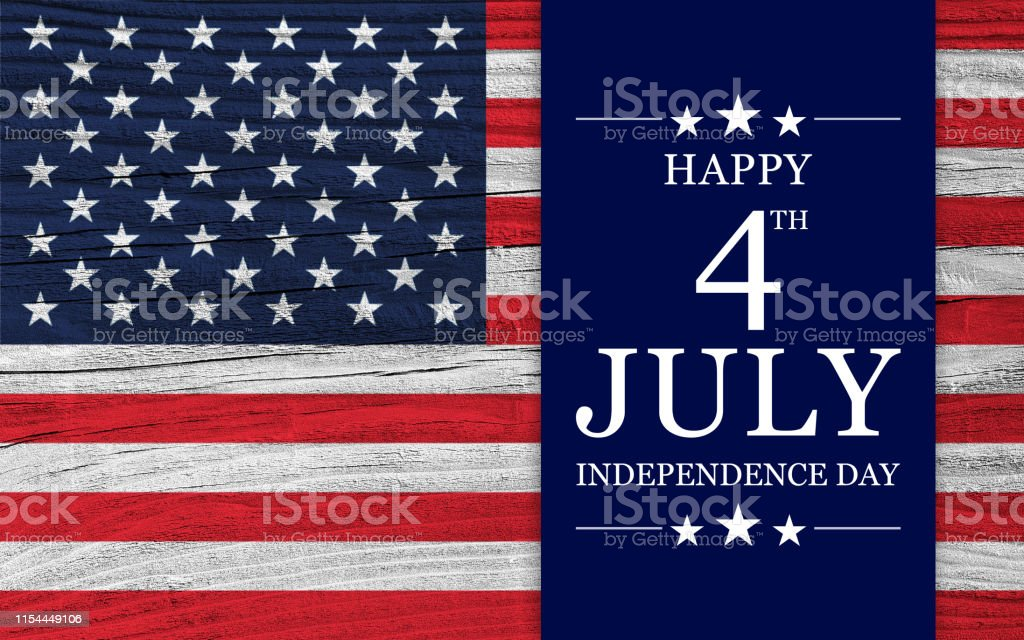 USA Independence Day background Celebrative texts for USA Independence Day on American style backdrop, with national flag elements superimposed on wooden surface. Abstract Stock Photo