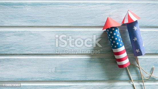istock Independence day background with rockets 1156979363