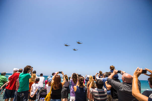 independence day celebration in tel aviv, israel - airshow stock photos and pictures