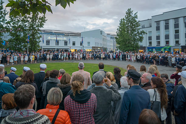 Independence Day celebrations in Akureyri Akureyri, Iceland - June 17, 2016: Locals and visitors attend the Independence Day celebrations in the main square of Akureyri, Iceland 12 17 months stock pictures, royalty-free photos & images
