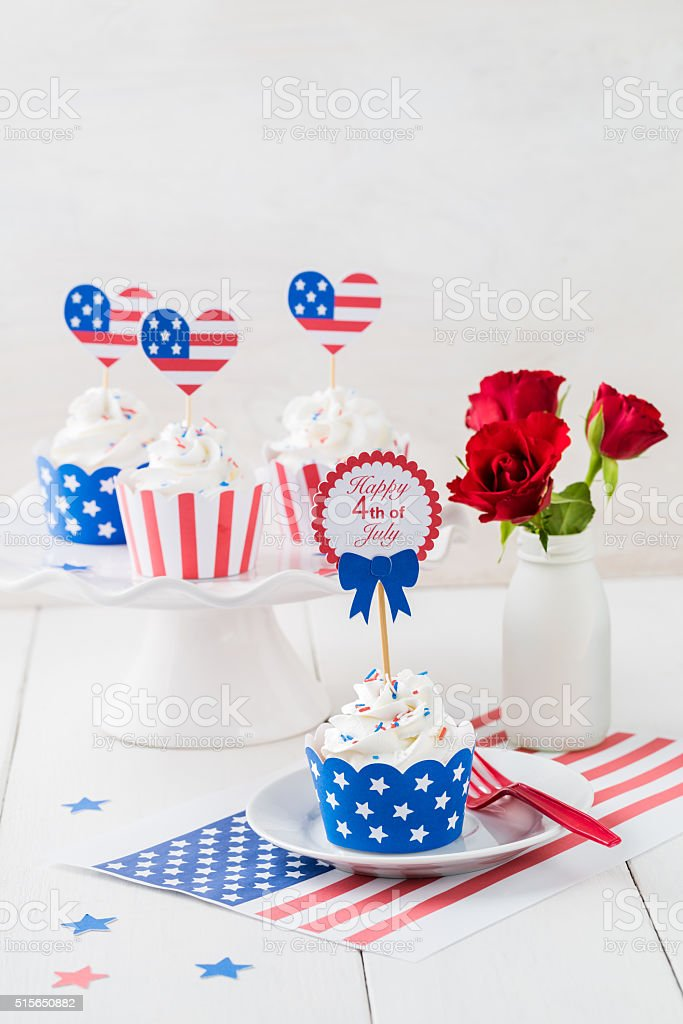 Independence day cupcakes stock photo