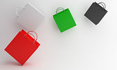 istock Independence day design creative concept for United Arab Emirates UAE, Kuwait, Palestine, Jordan, Sudan. Flying shopping bag red, white, green, black color on background. 1185223571