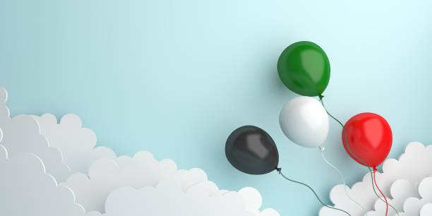 獨立日為阿拉伯聯合大公國、科威特、巴勒斯坦、約旦、蘇丹設計創意概念。飛氣球紅色,白色,綠色,黑色雲背景演播室照明。 - uae national day 個照片及圖片檔