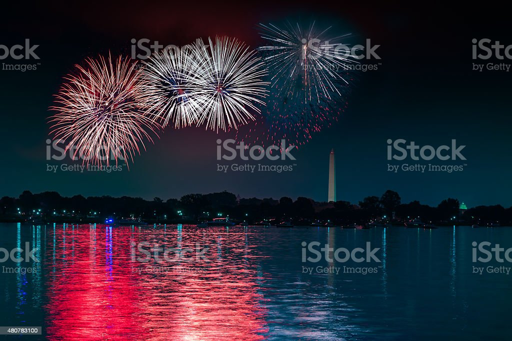 Independence Day Fireworks in DC stock photo