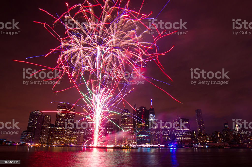 Independence Day Fireworks, New York City stock photo