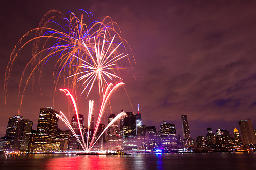 Independence Day fireworks above the Manhattan skyline in Brooklyn, New York.