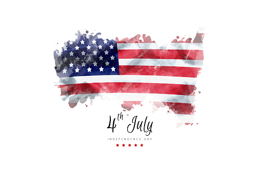 Independence Day Greeting Card American Flag Grunge Background Stock Photo - Download Image Now