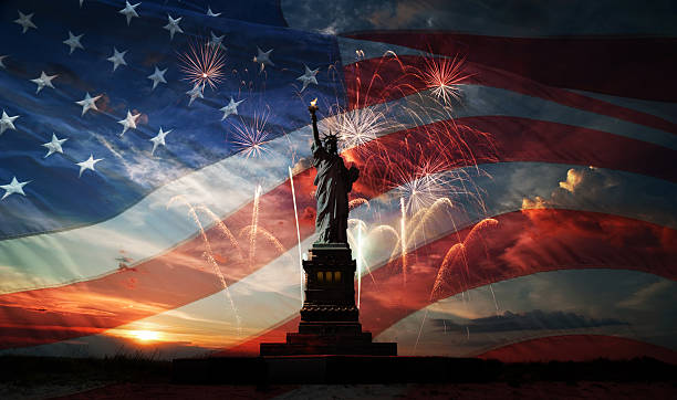 Independence day. Liberty enlightening the world Statue of Liberty on the background of flag usa, sunrise and fireworks independence day photos stock pictures, royalty-free photos & images