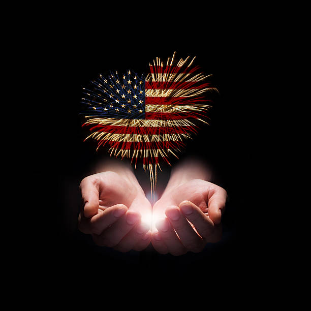 Independence day. My heart with love to usa. stock photo