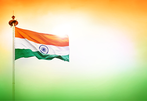 INDIA FLAG FLYING HIGH WITH PRIDE independence day of india and republic day of india, beautiful tri colour background saffron white and green