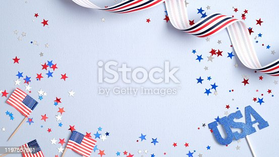 508026042 istock photo Independence day USA banner mockup with American flags, confetti and ribbon. USA Presidents Day, American Labor day, Memorial Day, US election concept. 1197557861