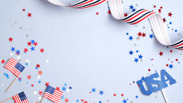 Independence day USA banner mockup with American flags, confetti and ribbon. USA Presidents Day, American Labor day, Memorial Day, US election concept.