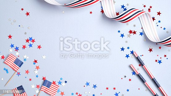 508026042 istock photo Independence day USA banner mockup with American flags, drinking straws, confetti and ribbon. USA Presidents Day, American Labor day, Memorial Day, US election concept. 1197557857
