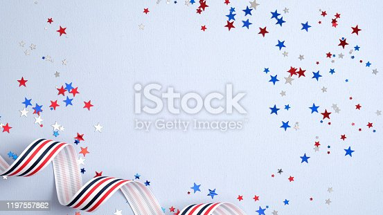 508026042 istock photo Independence day USA banner mockup with confetti and ribbon. USA Presidents Day, American Labor day, Memorial Day, US election concept. 1197557862