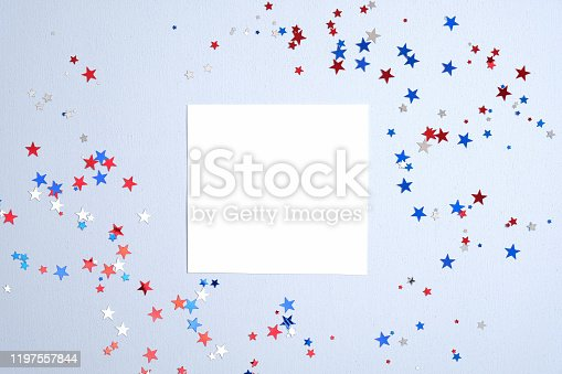508026042 istock photo Independence day USA banner mockup with confetti stars in American national colors and blank paper card. USA Presidents Day, American Labor day, Memorial Day, US election concept. 1197557844