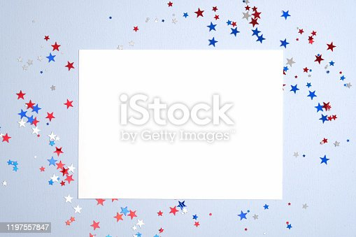 508026042 istock photo Independence day USA banner mockup with confetti stars in American national colors and blank paper card. USA Presidents Day, American Labor day, Memorial Day, US election concept. 1197557847