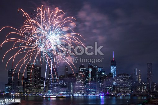 istock Independence Day With Fireworks in New York City 481906486