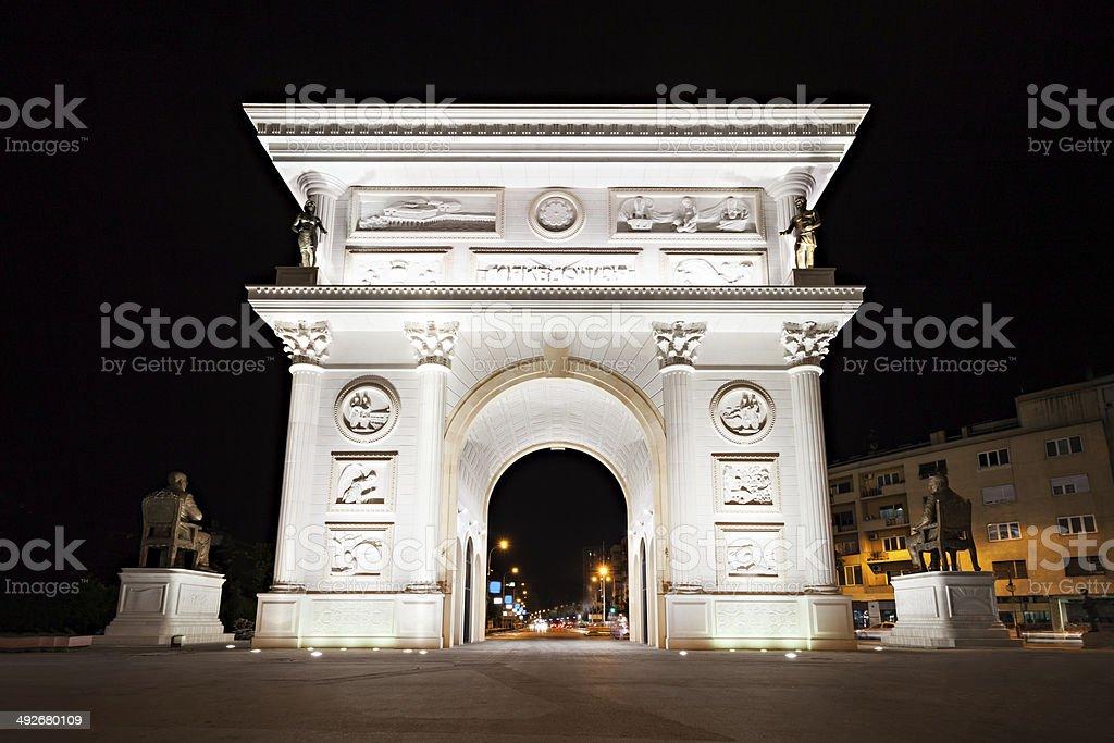 Independence Gate, Skopje stock photo