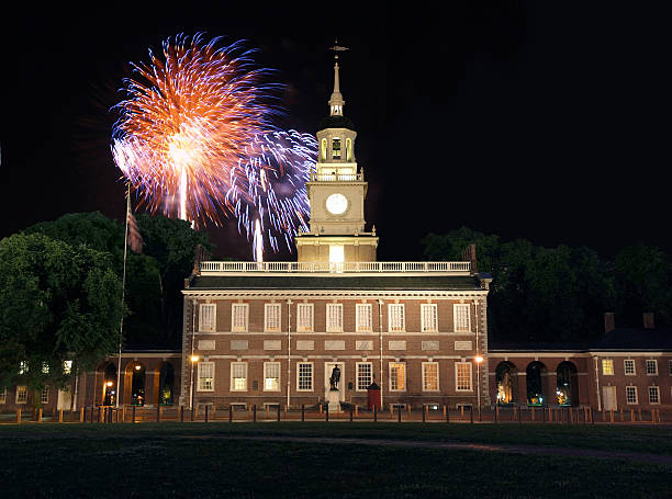 Independence Hall Fireworks stock photo