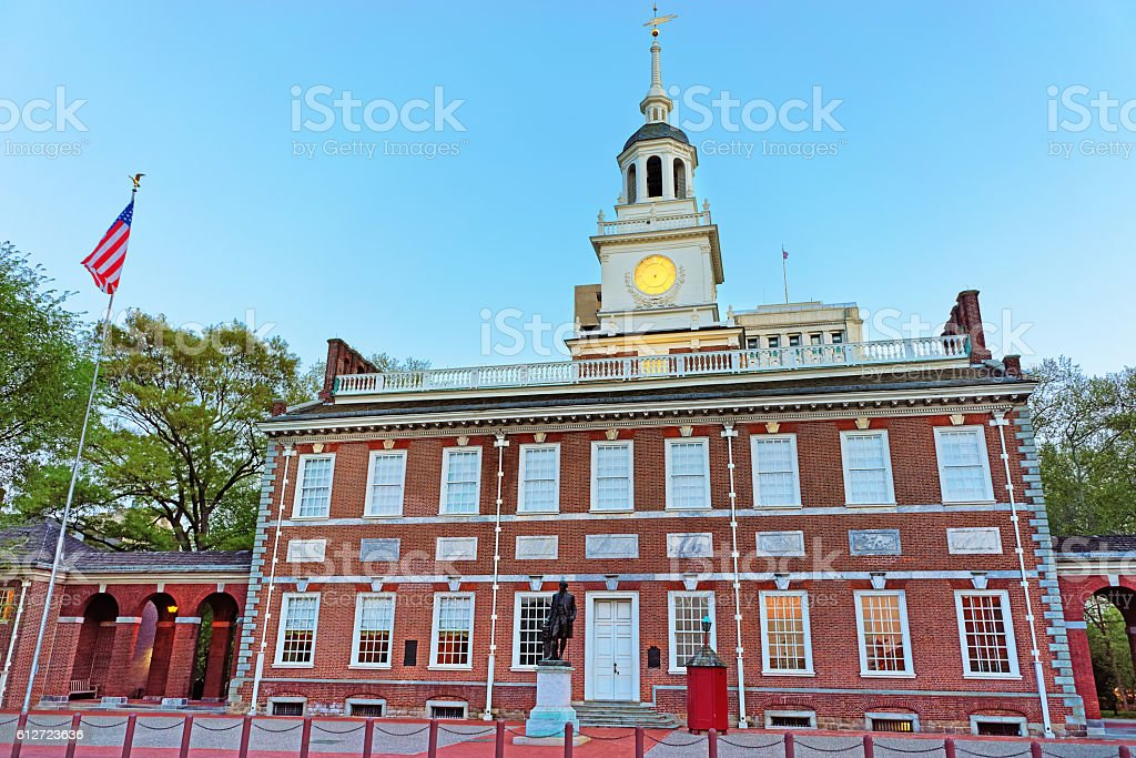 Independence Hall in Chestnut Street in Philadelphia in evening stock photo