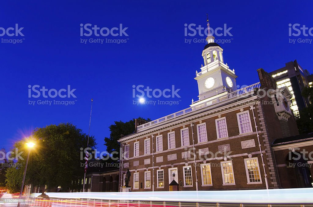 Independence Hall in Philadelphia, PA at night stock photo