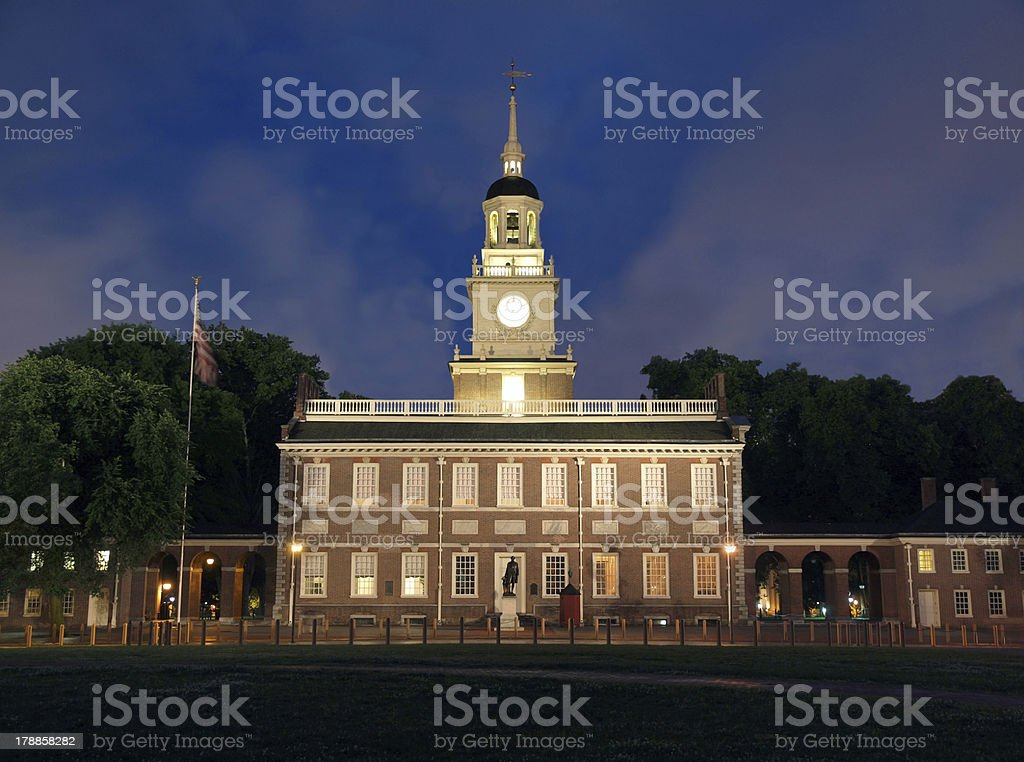 Independence Hall Night stock photo