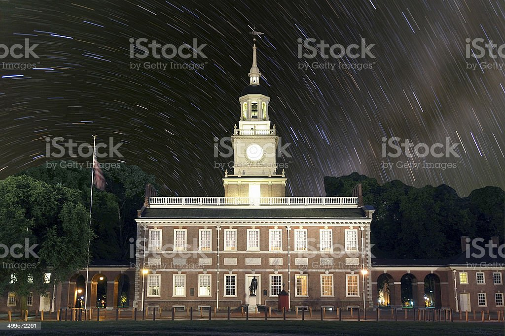 Independence Hall Star Trails stock photo