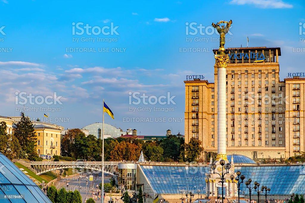 Independence Monument on the Maidan Nezalezhnosti square in Kiev, Ukraine stock photo