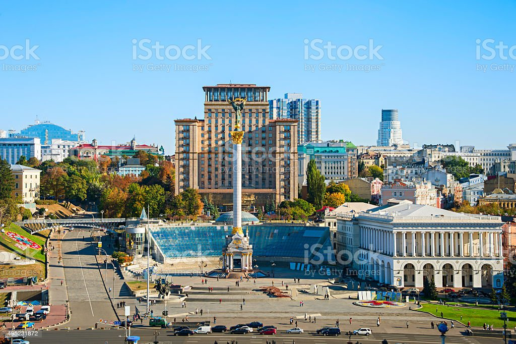 Independence Square front view, Ukraine stock photo
