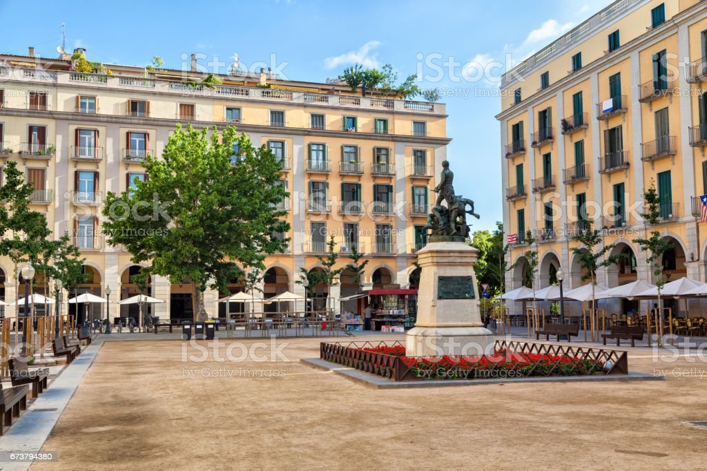 Independence Square in Girona royalty-free stock photo