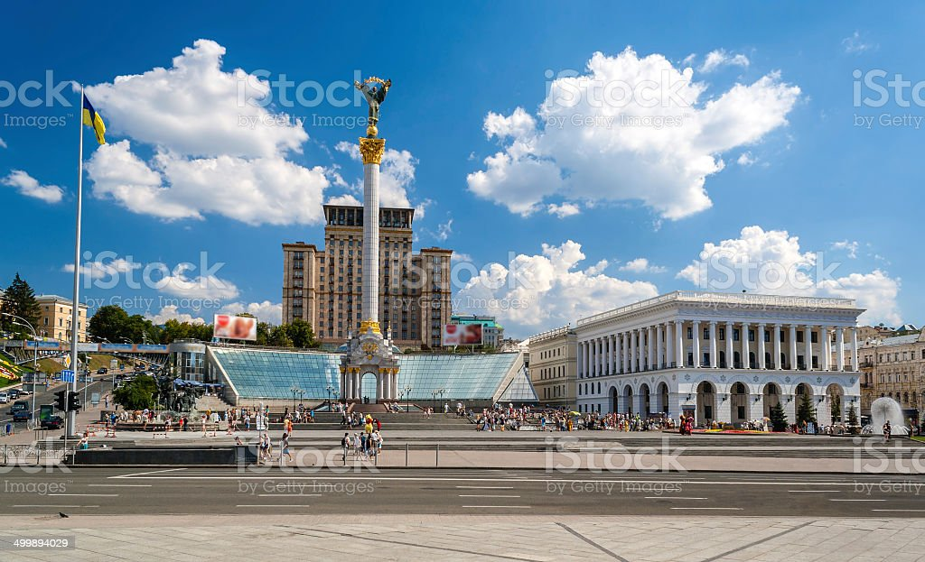 Independence square in Kyiv, Ukraine stock photo
