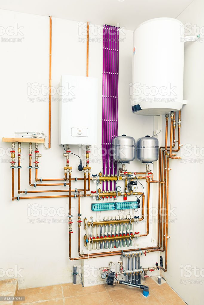 independent heating system with boiler stock photo